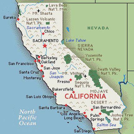 U S Map State Of California
