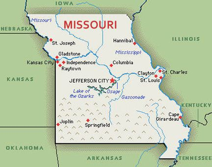 U S Map State Of Missouri