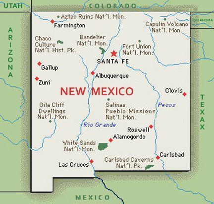 U S Map State Of New Mexico