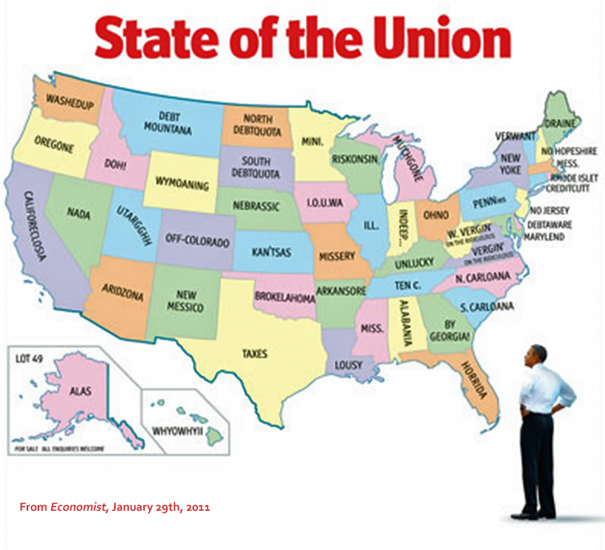 US States Renamed - Map showing us states by name